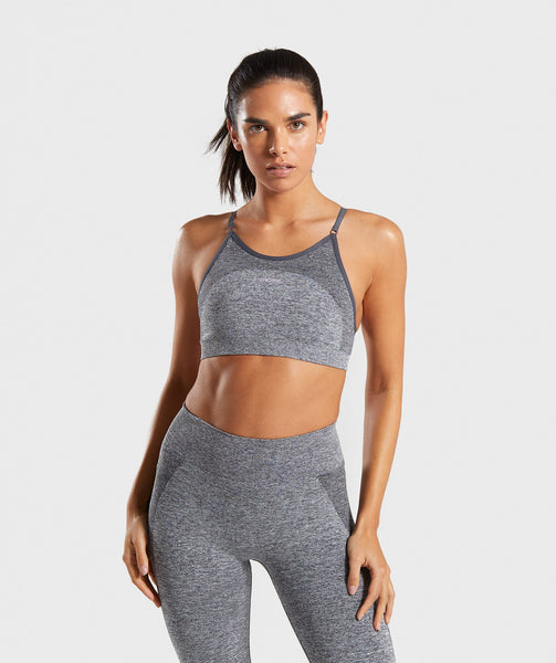 Gymshark Flex Strappy Sports Bra - Grey/Pink 4