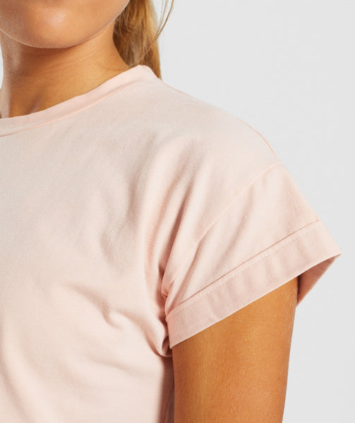 Gymshark Fraction Crop Top - Blush Nude/White 4