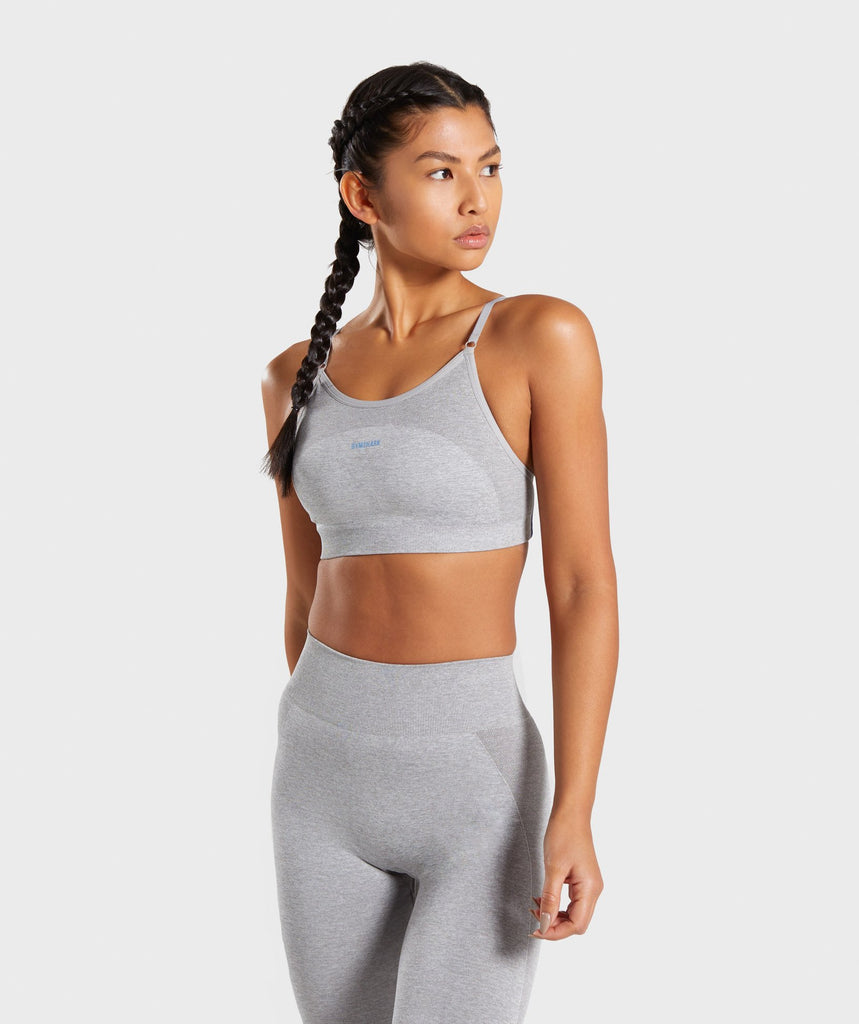 Gymshark Flex Strappy Sports Bra - Light Grey/Blue 1