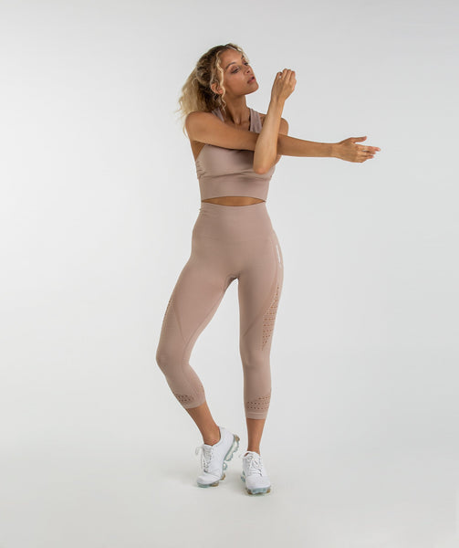 Gymshark Energy Seamless High Waisted Cropped Leggings - Taupe 3