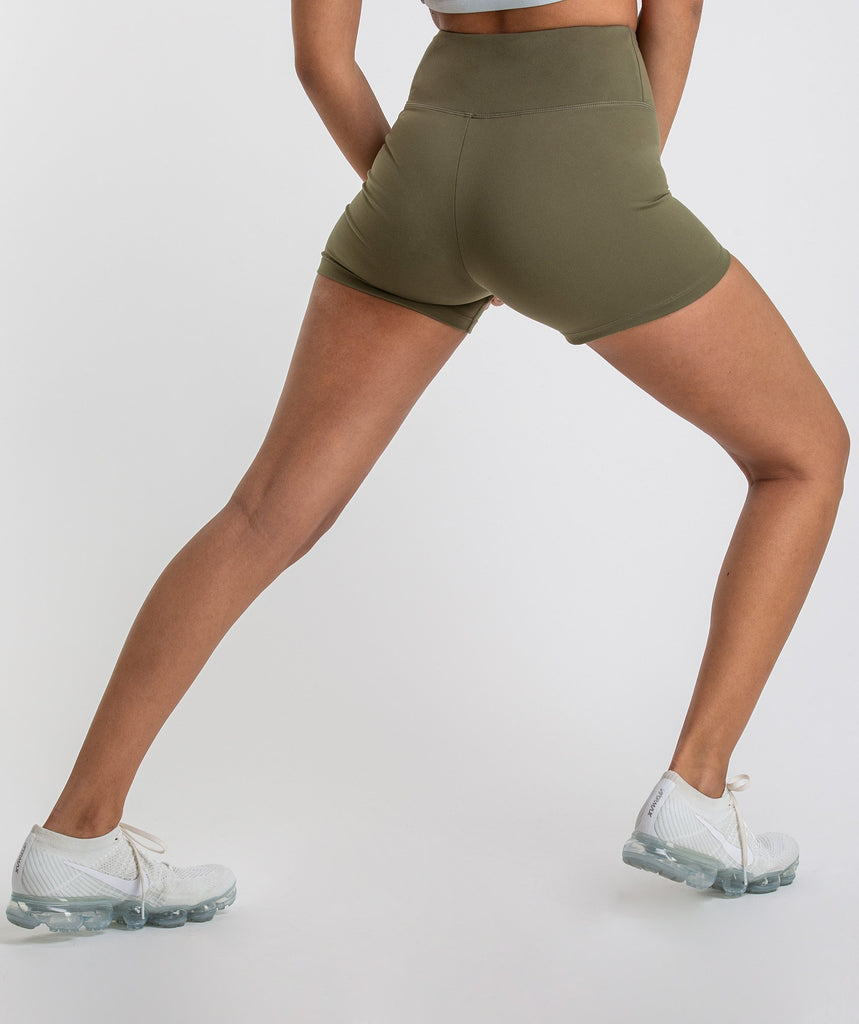 Gymshark Dreamy High Waisted Shorts - Khaki 1