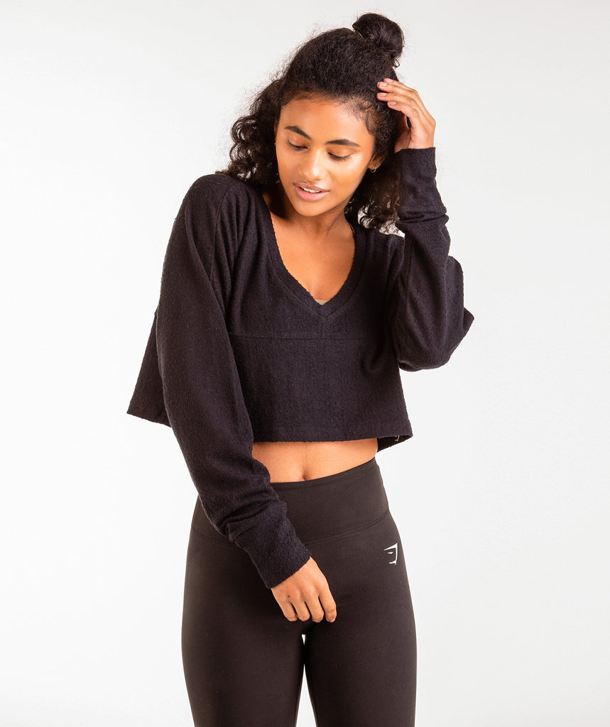 Gymshark Towel Sweater - Black 2
