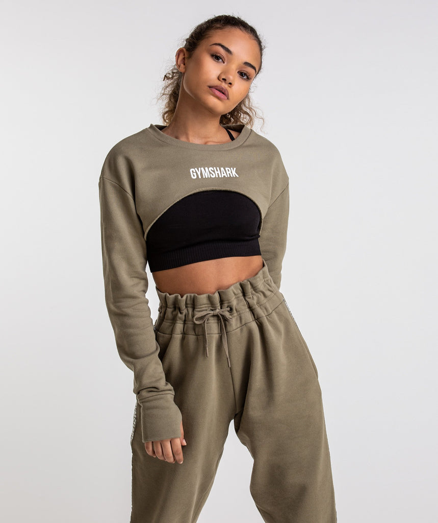 Gymshark Super Cropped Sweater - Washed Khaki 1
