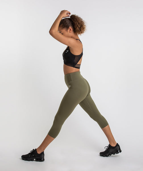 Gymshark Dreamy Cropped Leggings  - Khaki 3