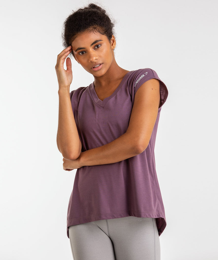 Gymshark Pleat Back Tee - Purple Wash 1
