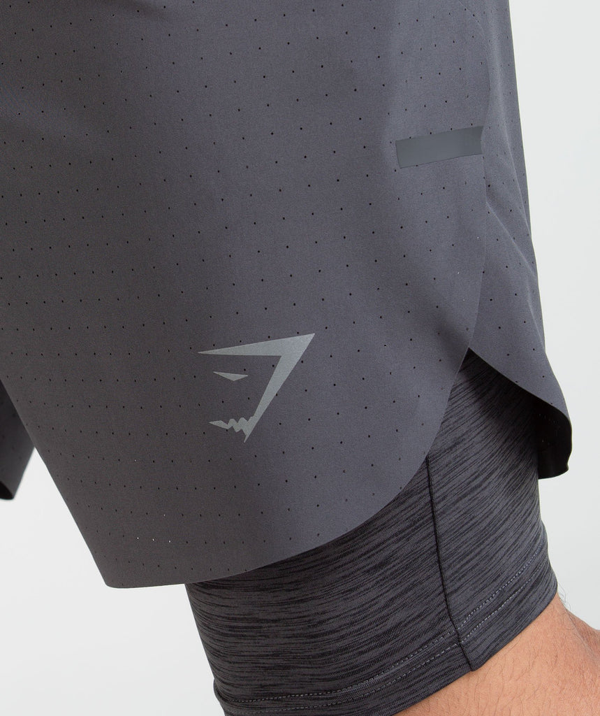 Gymshark Perforated Two In One Shorts - Charcoal 5