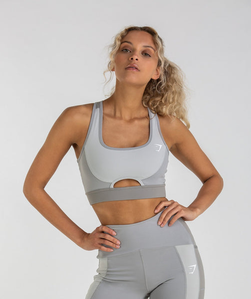 Gymshark Tonal Block Sports Bra - Light Grey 1