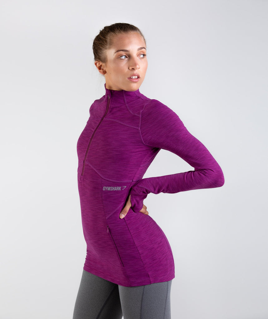 Gymshark Limit 1/2 Zip Pullover - Deep Plum Marl 1