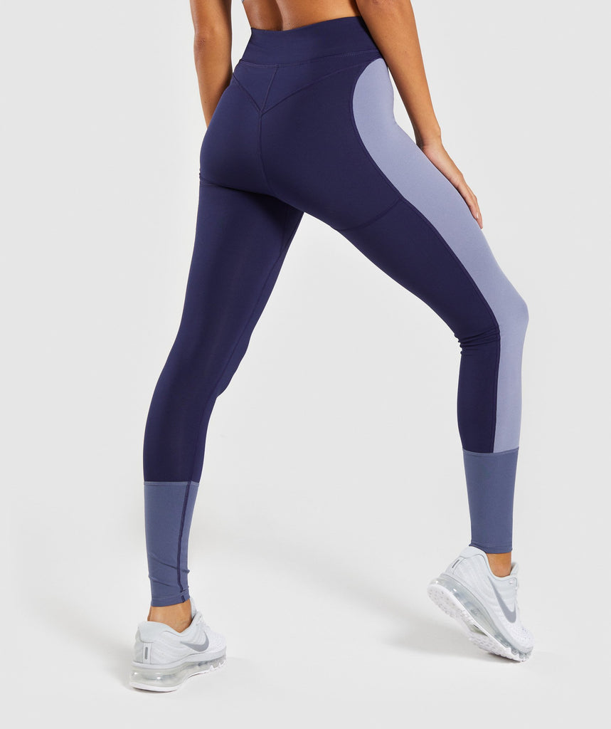 Gymshark Illusion Leggings - Evening Navy Blue/Steel Blue/Night Shadow Blue 2