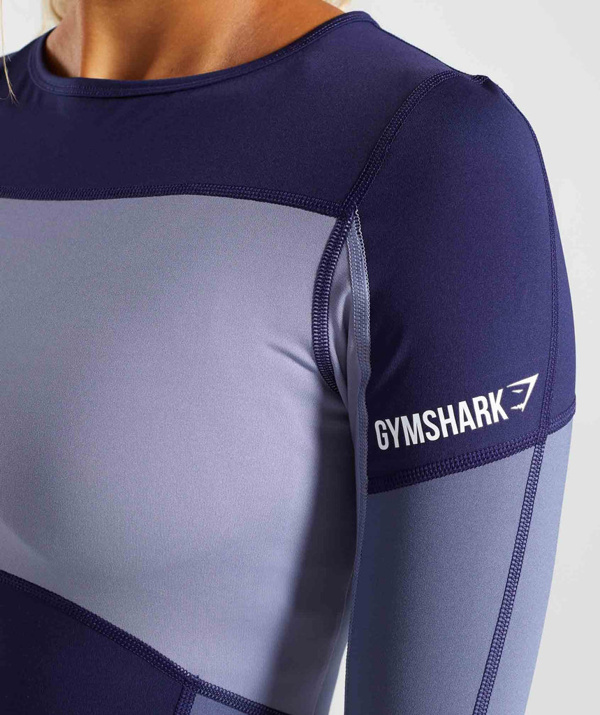 Gymshark Illusion Long Sleeve Top - Evening Navy Blue/Steel Blue/Night Shadow Blue 6