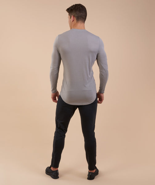 Perforated Longline Long Sleeve T-Shirt - Light Grey 2