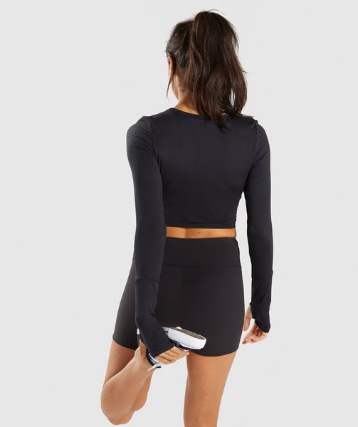 Gymshark Long Sleeve Ballet Crop Top - Black 1