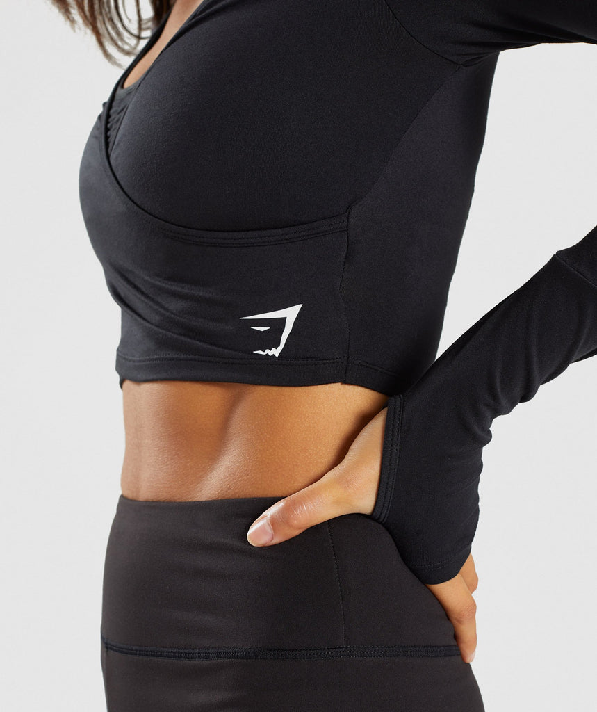 Gymshark Long Sleeve Ballet Crop Top - Black 6