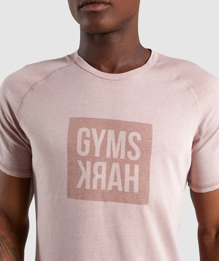 Gymshark Laundered Square Logo T-Shirt - Pink 5