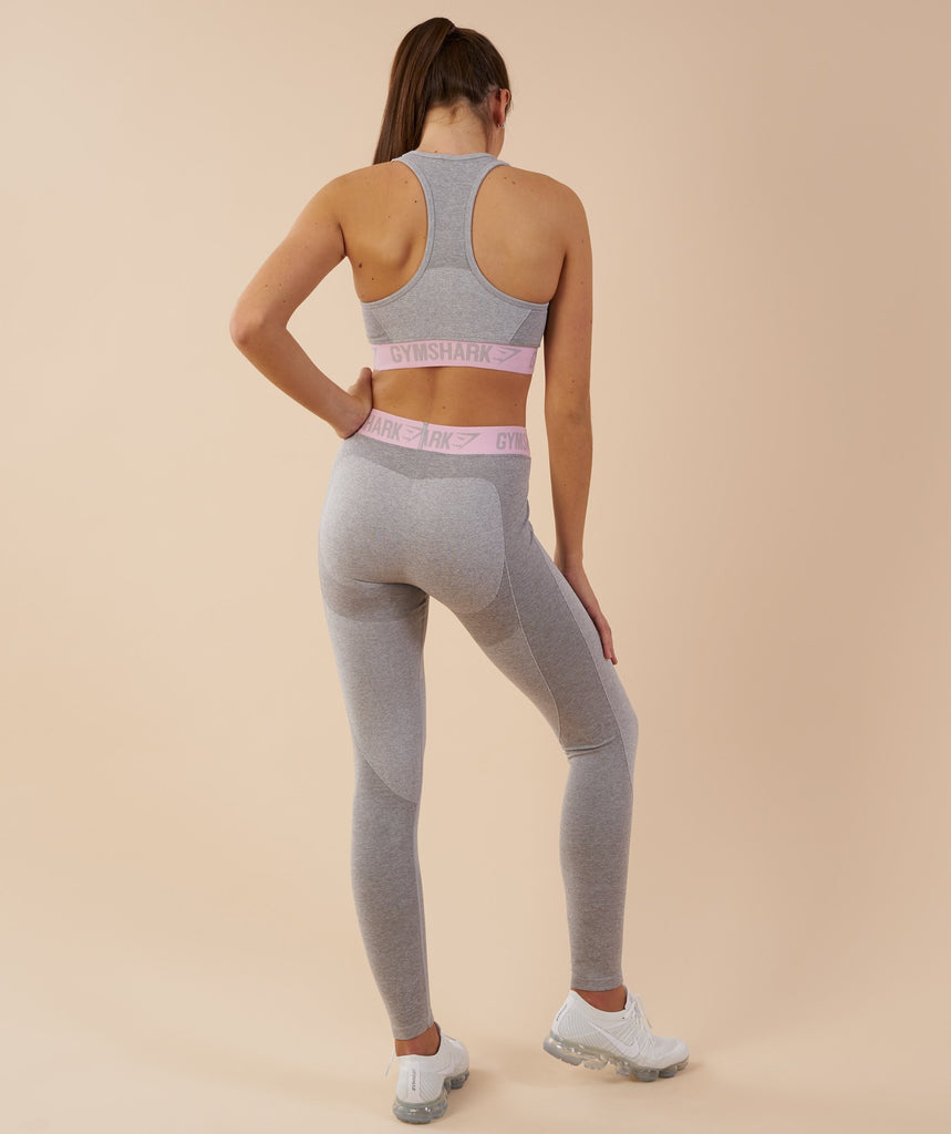Gymshark Flex Leggings - Light Grey Marl/Chalk Pink 2