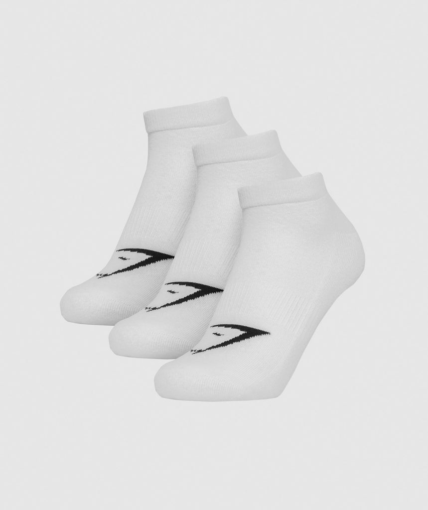 Gymshark Mens Trainer Socks (3pk) - White 1