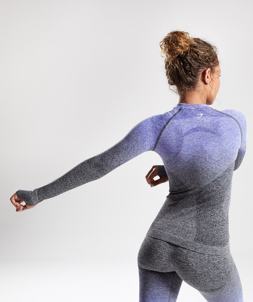 Gymshark Ombre Seamless Long Sleeve Top - Indigo/Black 1