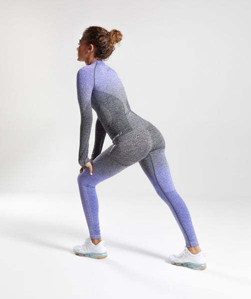 Gymshark Ombre Seamless Long Sleeve Top - Indigo/Black 2