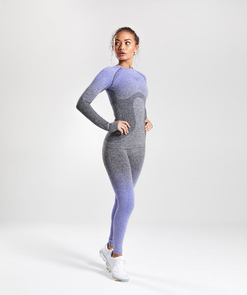 Gymshark Ombre Seamless Long Sleeve Top - Indigo/Black 3