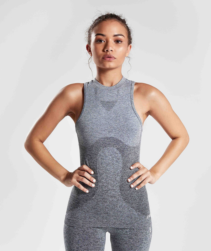 Gymshark Ombre Seamless Vest  - Black/Light Grey 1