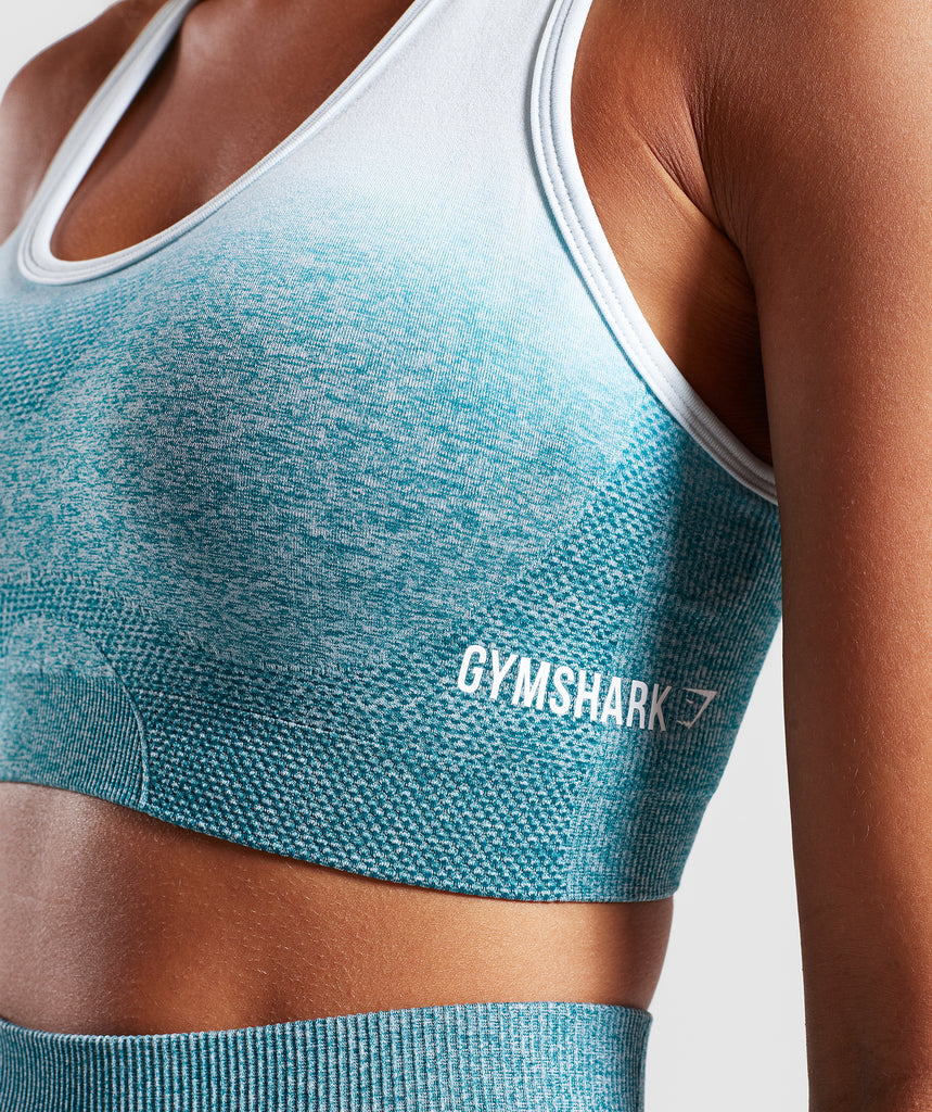 Gymshark Ombre Seamless Sports Bra  - Deep Teal/Ice Blue 5