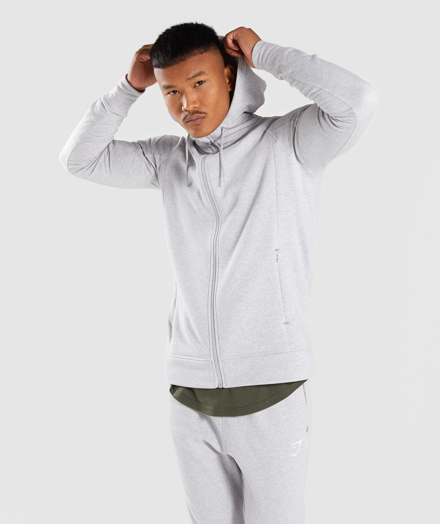 Gymshark Principle Zip Hoodie - Light Grey Marl 1