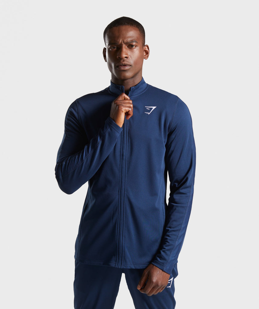 Gymshark React Training Track Top - Blue 1