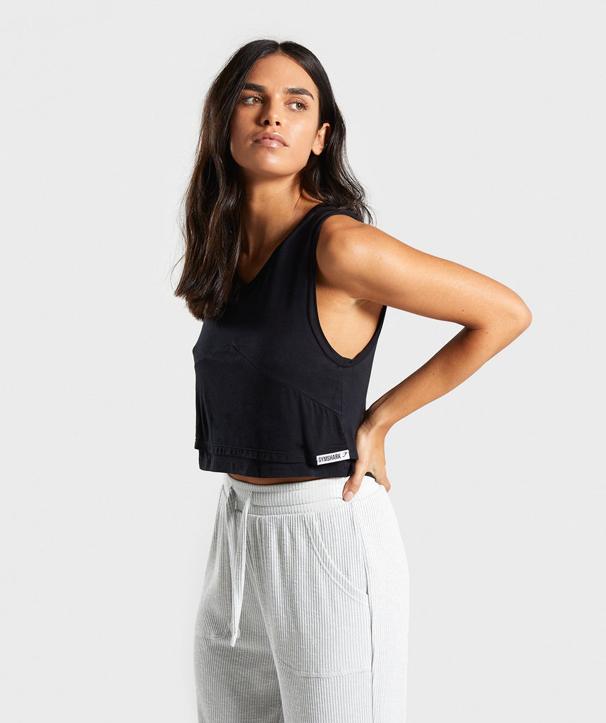 58084cdefbba2 Gymshark Relaxed Crop Top - Black 1