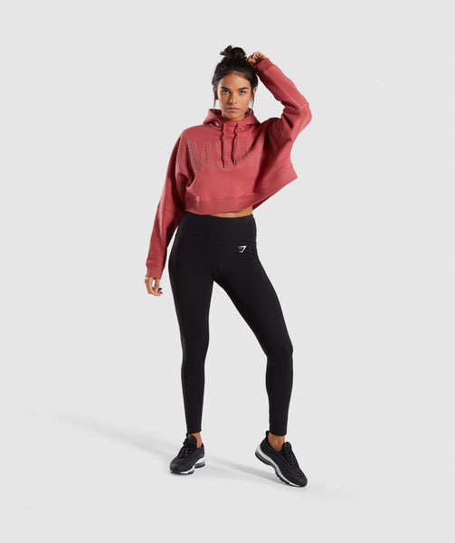Gymshark Repeat Print Crop Pullover - Rose Brick 3