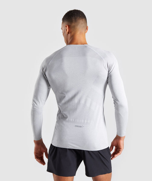 Gymshark Shadow Seamless Long Sleeve T-Shirt - Light Grey Marl 4