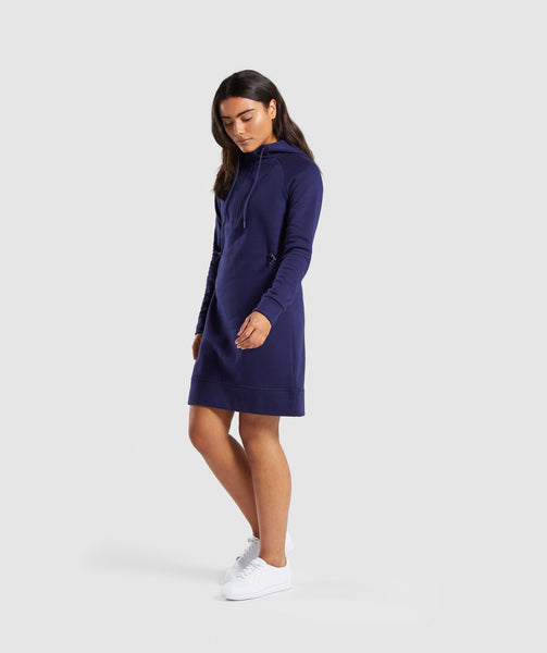 Gymshark Slim Fit Hooded Dress - Evening Navy Blue 3