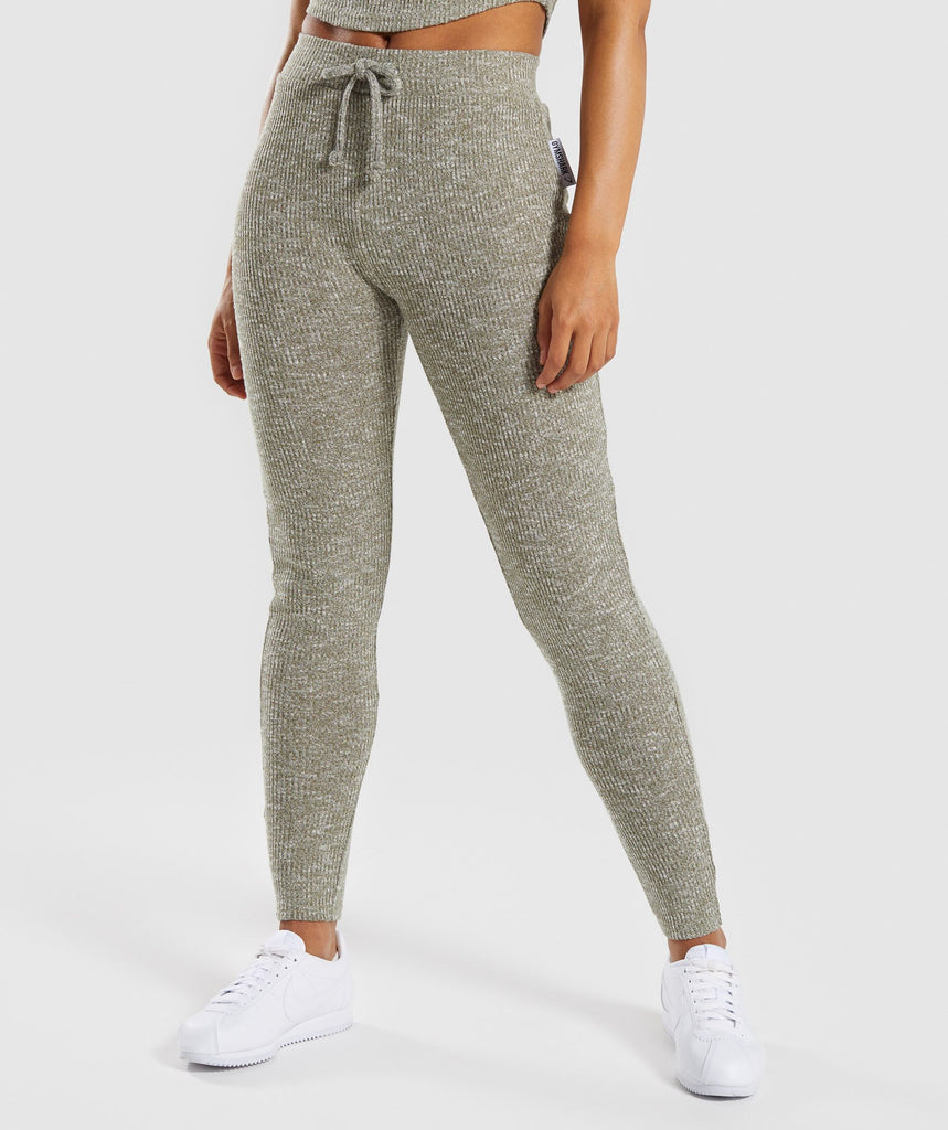 Gymshark Slounge Leggings - Washed Khaki Marl 1