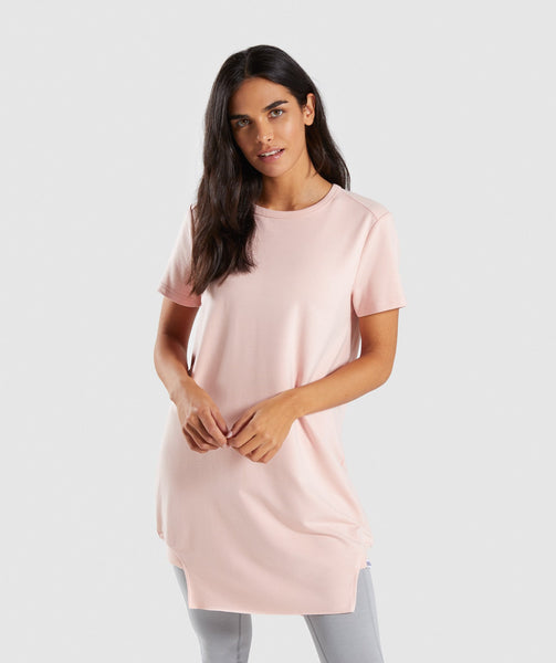 Gymshark Slounge Crescent T-Shirt Dress - Blush Nude 4