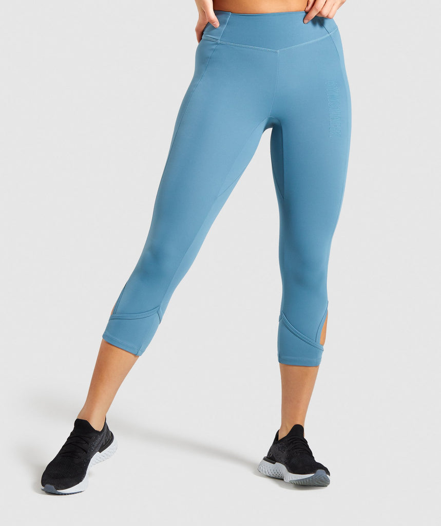 Gymshark Studio Cropped Leggings - Teal 1