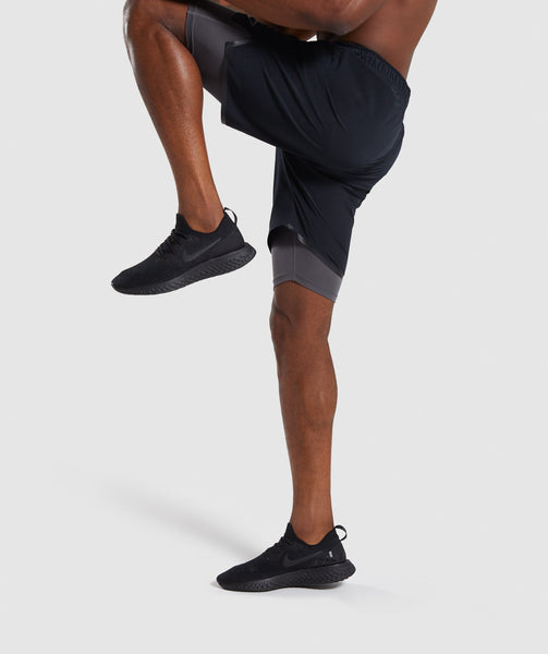 Gymshark Superior 2 In 1 Training Shorts - Black/Charcoal 2