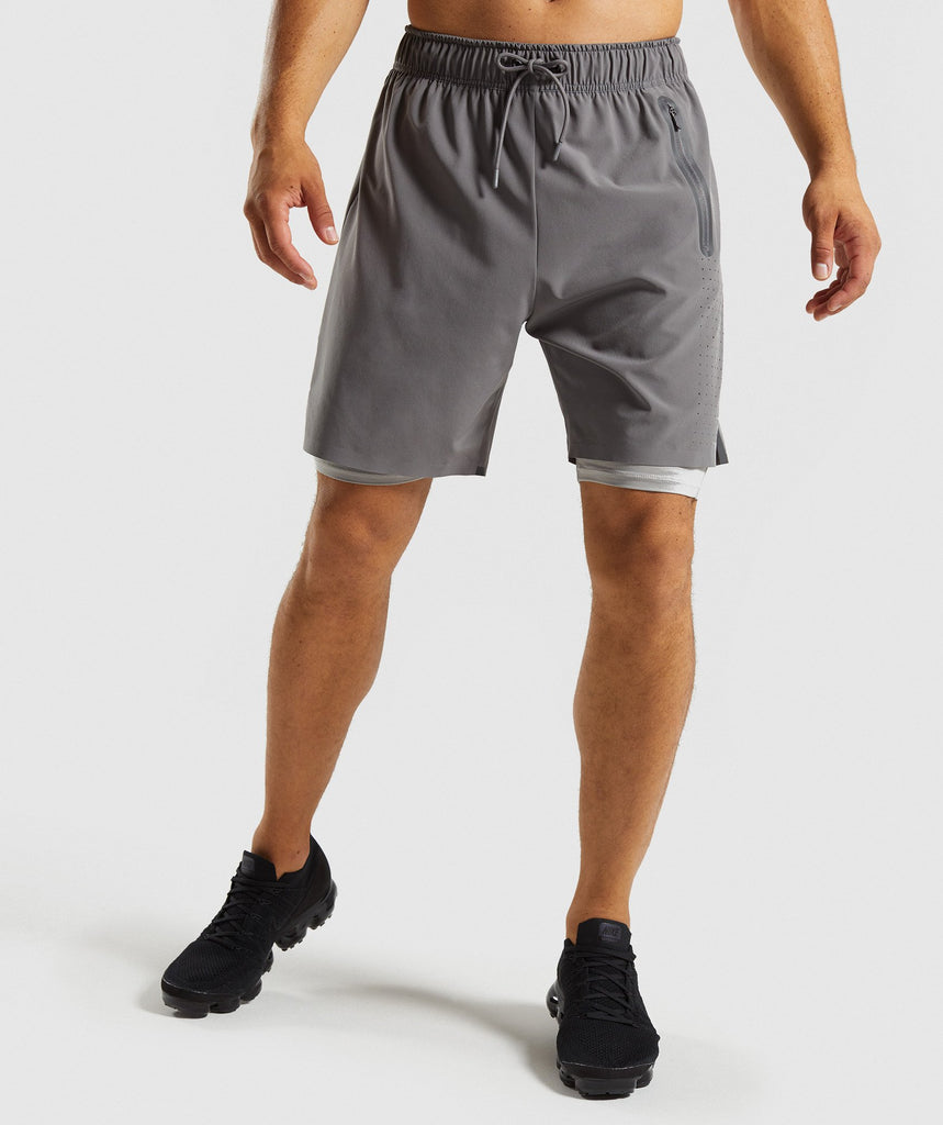 Gymshark Superior 2 In 1 Training Shorts - Smokey Grey/Light Grey 1