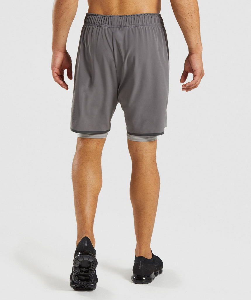 Gymshark Superior 2 In 1 Training Shorts - Smokey Grey/Light Grey 2