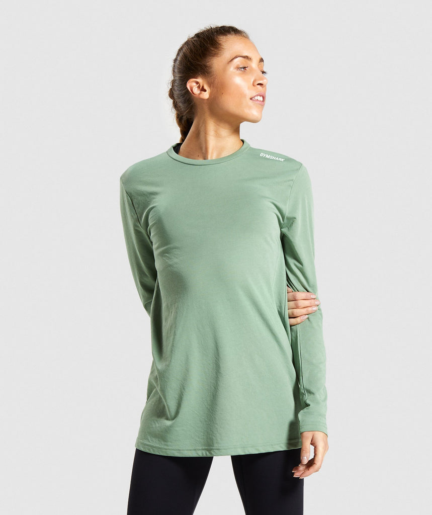Gymshark Training Oversized Long Sleeve Tee - Green 1