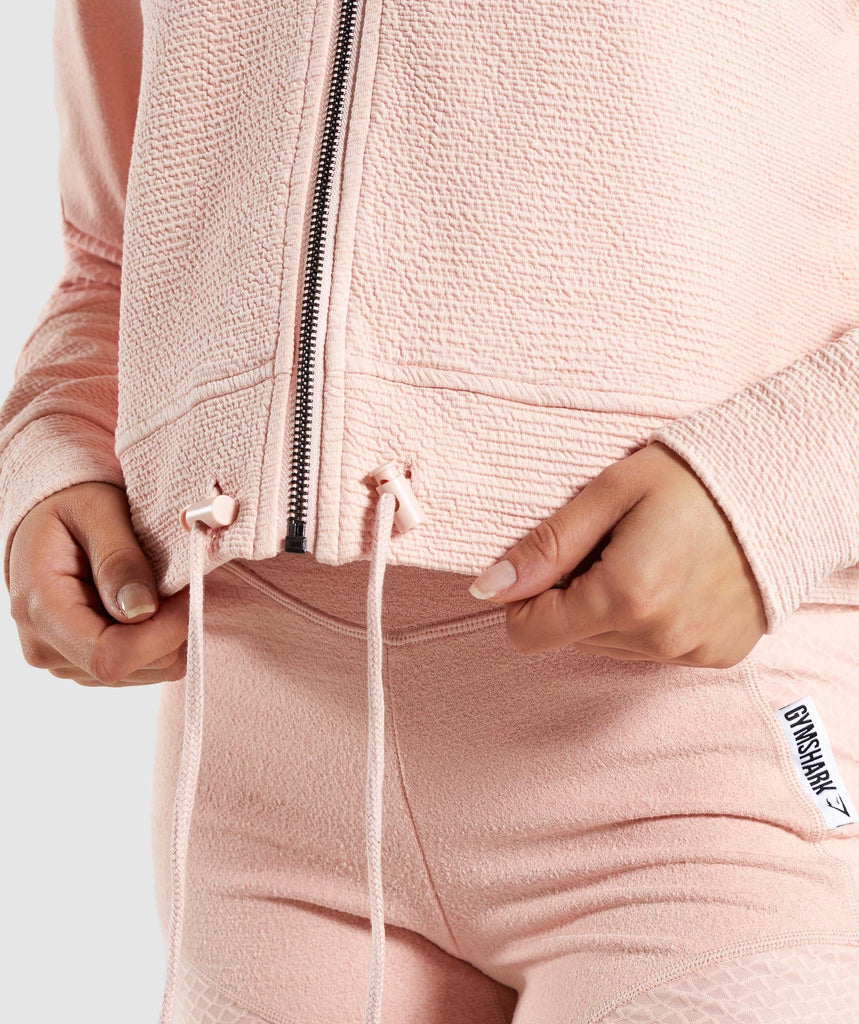 Gymshark True Texture Hooded Bomber Jacket - Blush Nude 6