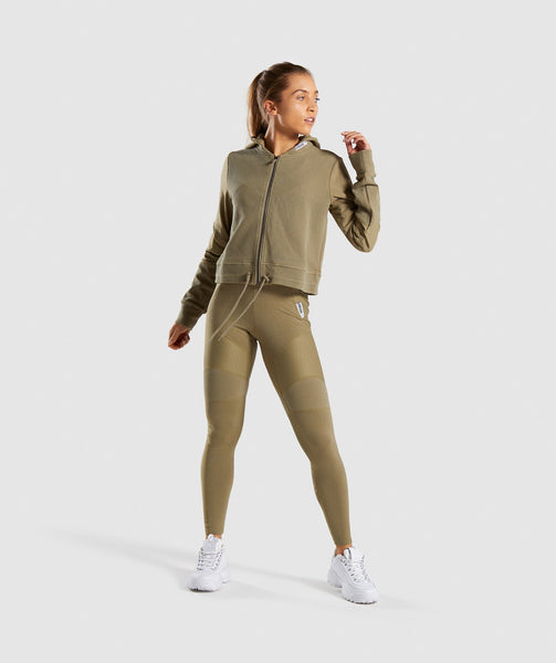 Gymshark True Texture Hooded Bomber Jacket - Washed Khaki 3