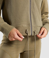 Gymshark True Texture Hooded Bomber Jacket - Washed Khaki 12
