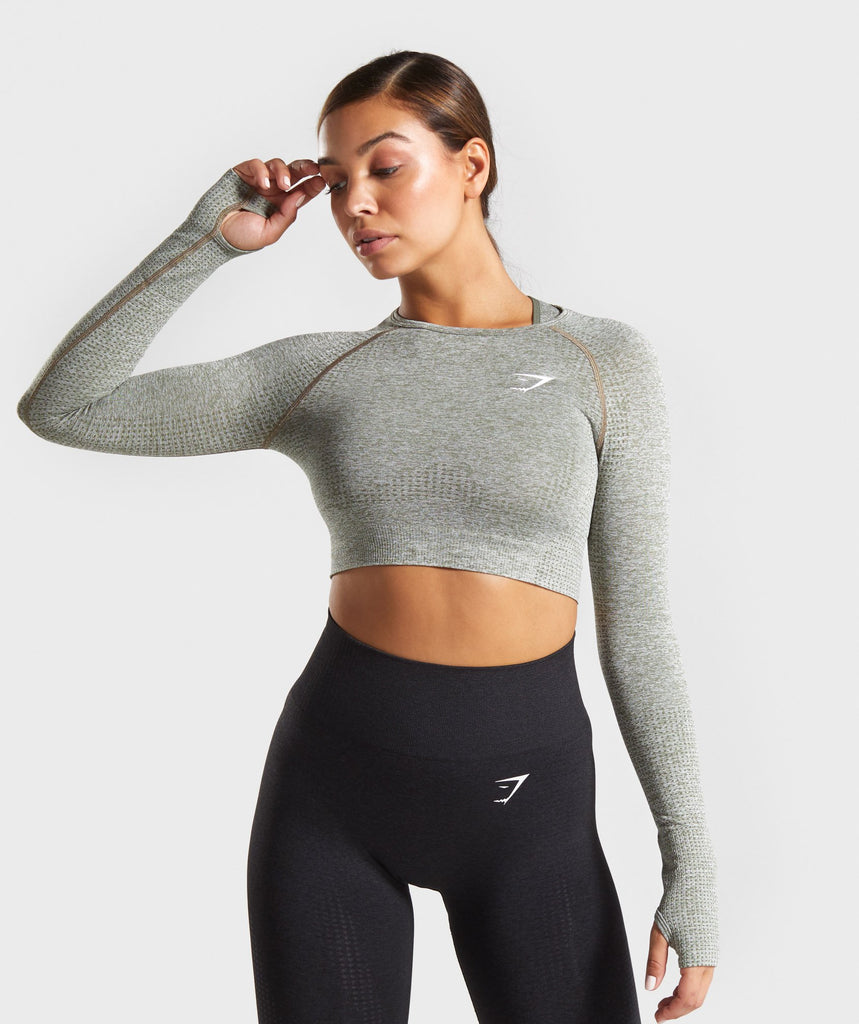 Gymshark Vital Seamless Long Sleeve Crop Top - Khaki Marl 1