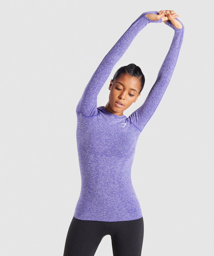 Full Length Indigo Marl Vital Seamless Long Sleeve T-Shirt Front Stretch 4