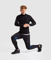 Gymshark Gravity Track Top - Black/Dive Blue 9