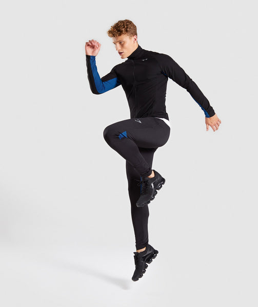 Gymshark Gravity Track Top - Black/Dive Blue 3