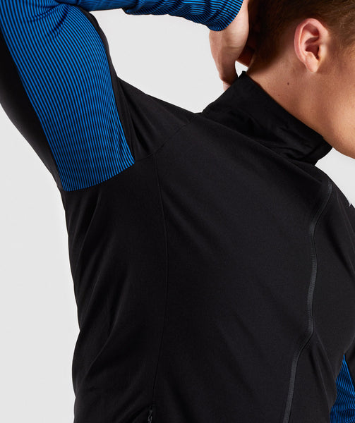Gymshark Gravity Track Top - Black/Dive Blue 4