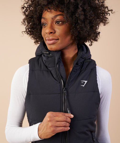 Gymshark Mellow Fitted Puffer Gilet - Black 4