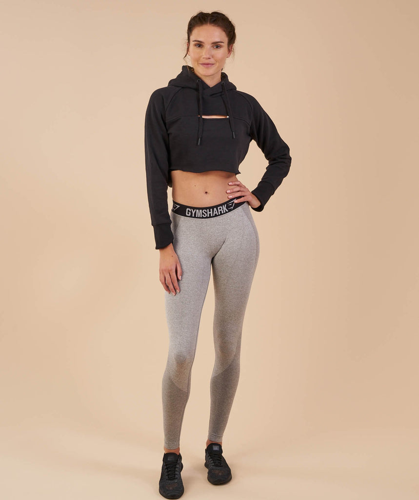 Gymshark Cropped Raw Edge Hoodie - Black 1