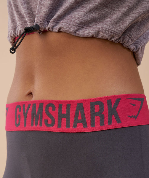 Gymshark Fit Leggings - Charcoal/Cranberry 4