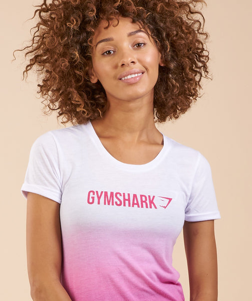 Gymshark Ombre T-Shirt - White/Cranberry 4